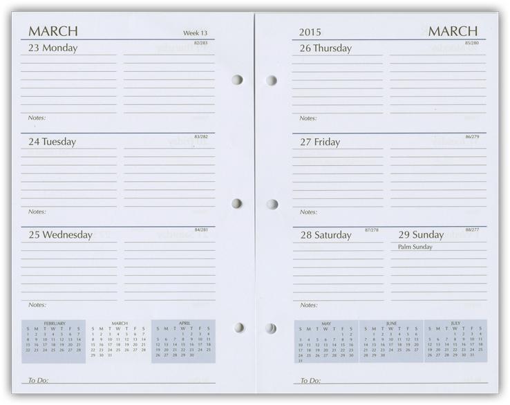 Calendar Planner Refill Pages : Paper refills planner calendar organizer inserts